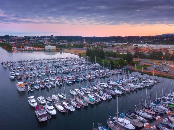 Twilight Dusk Pinks Settle Over OIympia Marina - Olympia, Washington