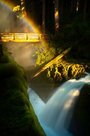 Vertical Rainbow and Sol Duc Bridge Sol Duc Falls, Olympic National Park, WA