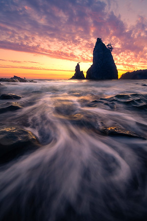 Twilight Tides Of Color On Rialto Beach -    Rialto Beach, Olympic National Park, Washington