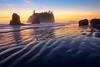 Ripple Reflections Of Sunset - Ruby Beach, Olympic National Park, Washington St.