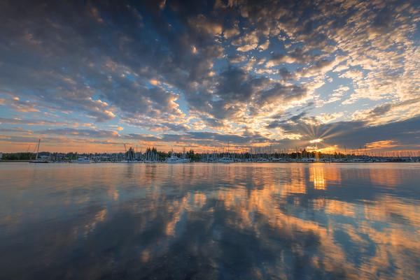 Sunburst Sunset Shining On Olympia Marina - Olympia, Washington