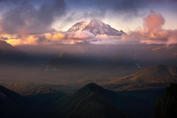 Last Light Stretches Across Valley With Mt Rainier - Mount Rainier National Park, WA