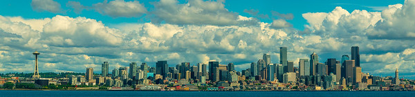Pano_Framed Tighter_ Of The Seattle Skyline - Downtown Seattle, WA