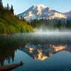 Early Morning Light From Bench Lake - Bench Lake, Mt Rainier NP, WA