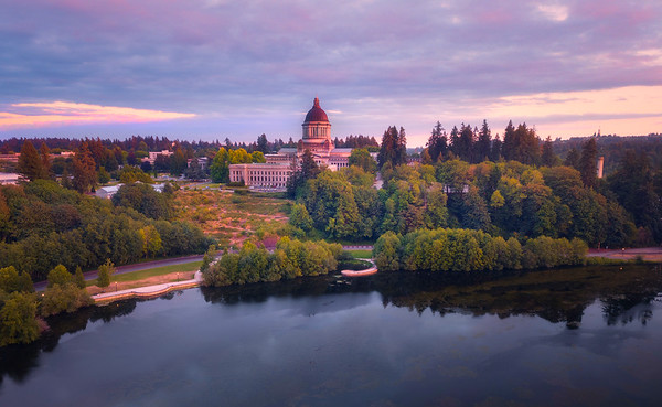 Capital Building During The Last Light - Olympia, Washington