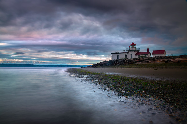 West Point Lighthouse Pink Sunrise - West Point Lighthouse, Discover Park, Seattle, WA