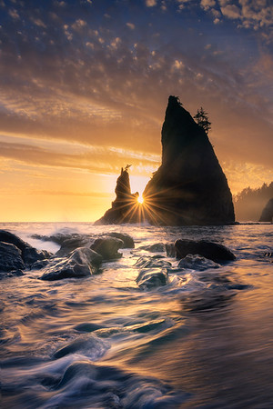 Riato Beach Sunstar Sunset -    Rialto Beach, Olympic National Park, Washington