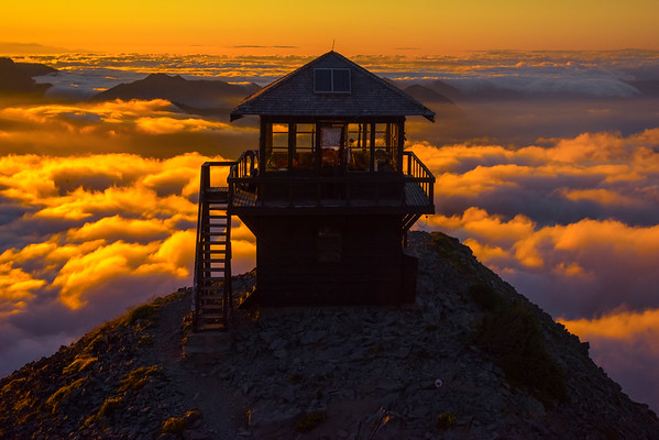 The Fremont Fire House In Close With Sunset Clouds Beneath - Mt Fremont Fire Lookout, Mount Rainer National Park, WA