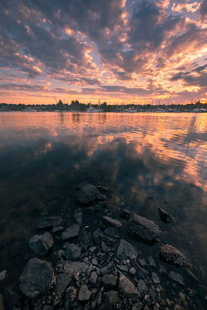 Sunset Fire Over Olympia Marina - Olympia, Washington