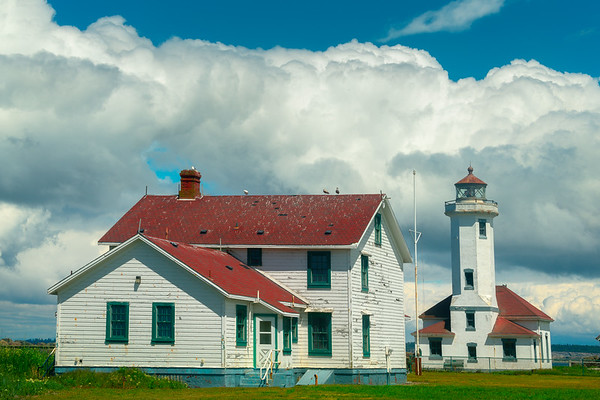 Point Wilson Lighthouse and Puffy Clouds - Point Wilson Lighthouse, Fort Worden State Park, WA