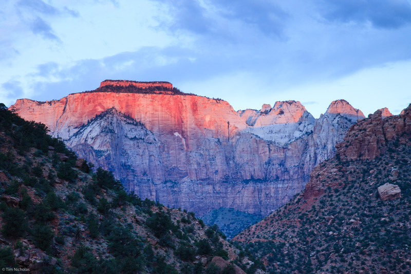 Zion: Sunrise on the West Temple