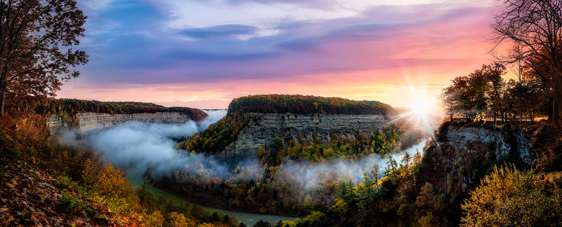 Sunrise over the Genesee river valley