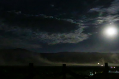 Sandstorm and Full Moon over Death Valley