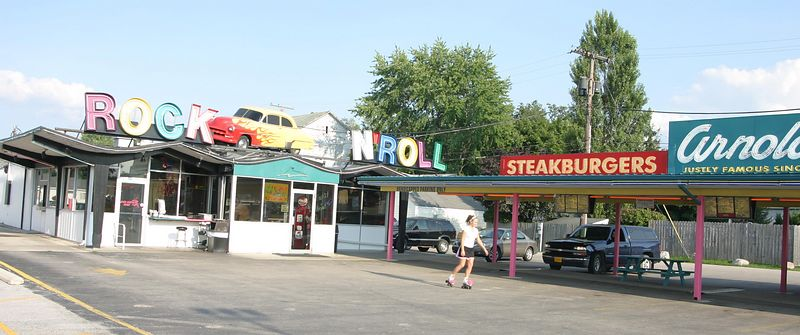 Arnold's in Decatur, Indaina.  50's style drive-in complete with sock hops on roller skates.