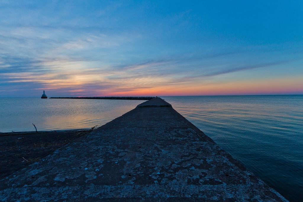 The sky comes alive with color just after sunset (North Entry Point Portage Canal viewed from McLain State Park).