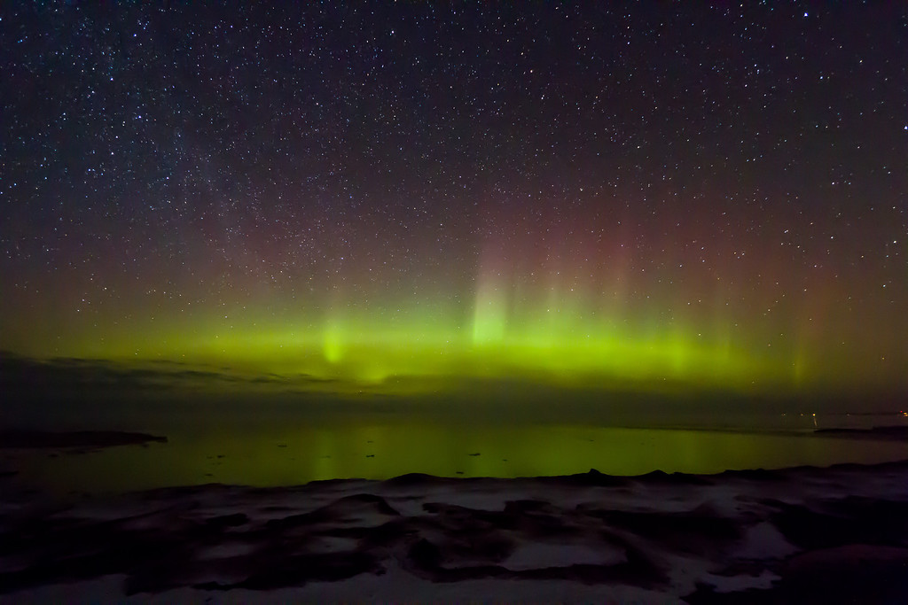 Northern Lights light up the night over Lake Superior (McLain State Park).