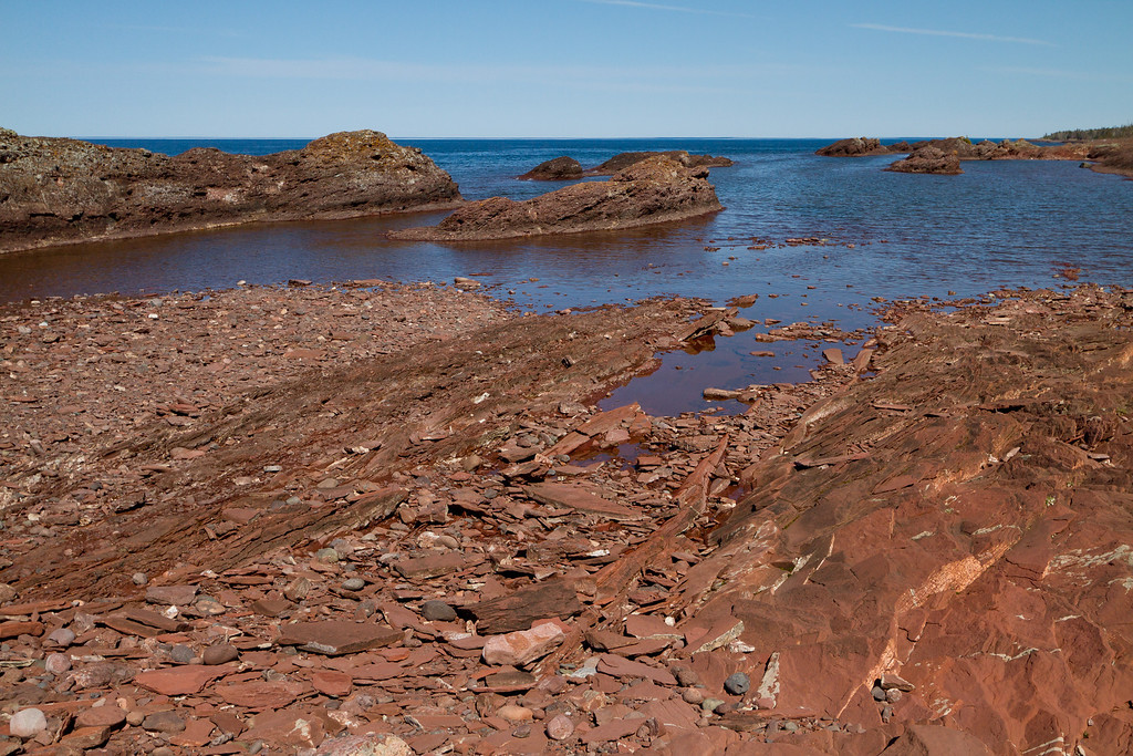 Rocky outcropping along the Keweenaw shore.
