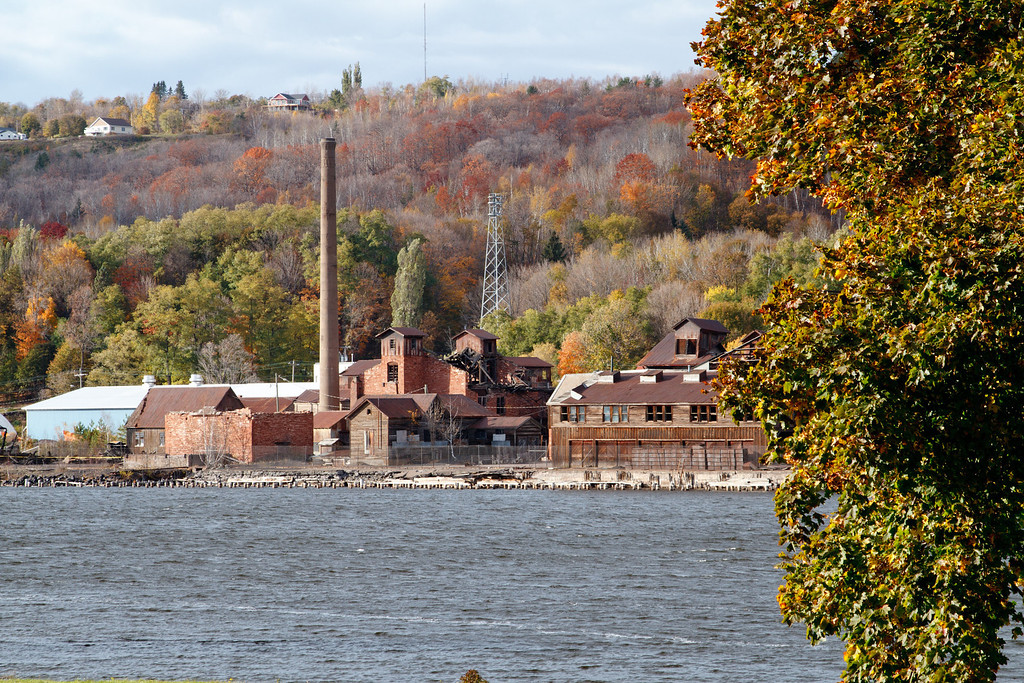 Quincy smelter along the Portage Canal on a fall day.