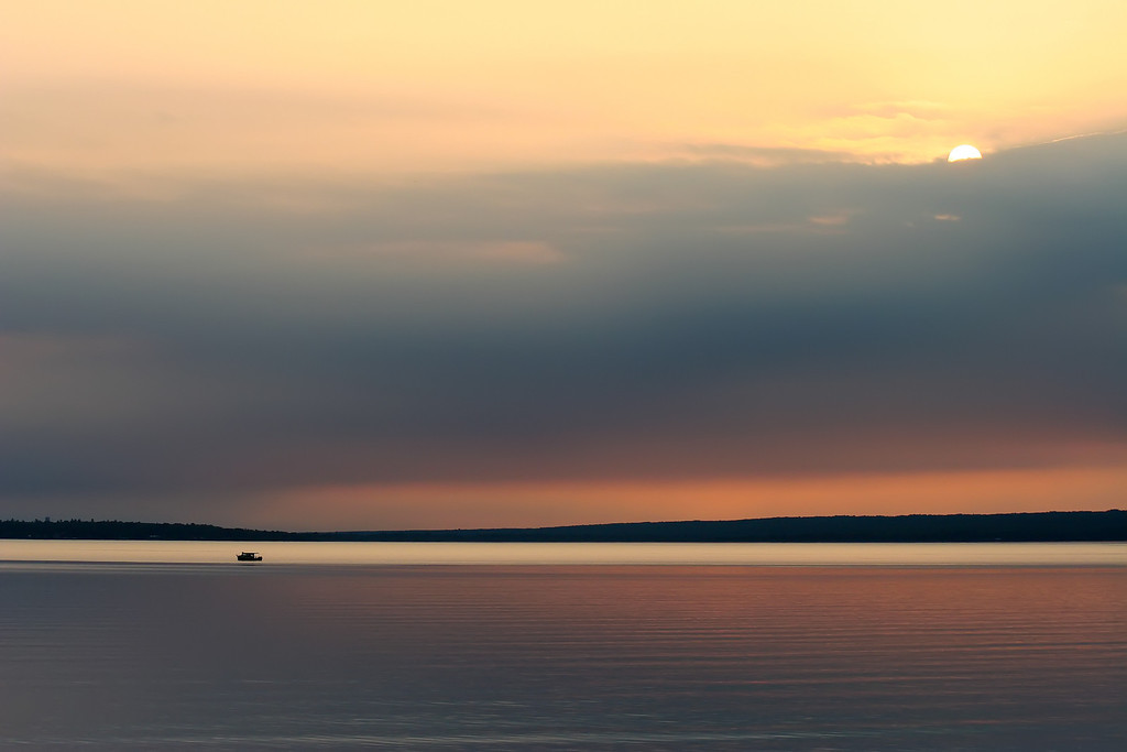 Fishing boat on Keweenaw Bay early morning in late July.