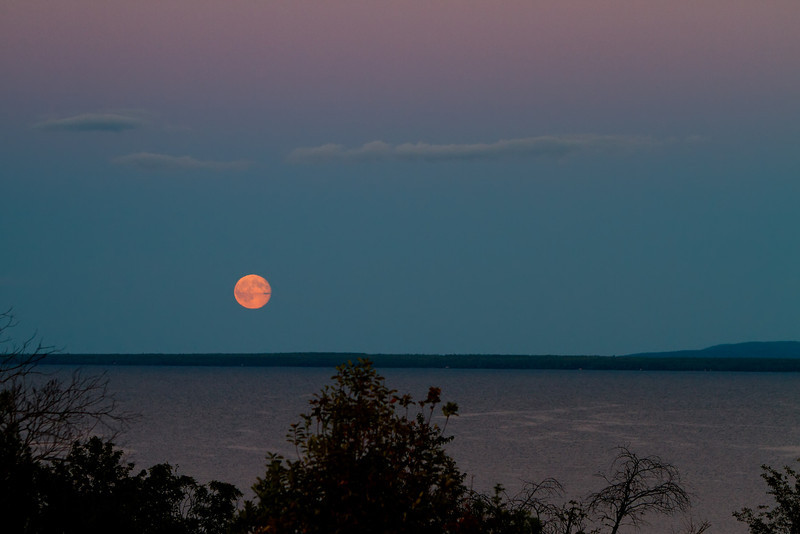 Moonrise over Keweenaw Bay.