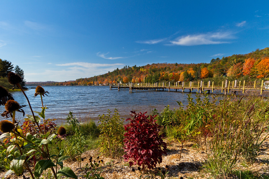 Fall color on display at Lac La Belle in October.