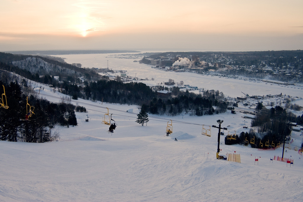 Winter sunrise over Houghton as viewed from Mont Ripley.