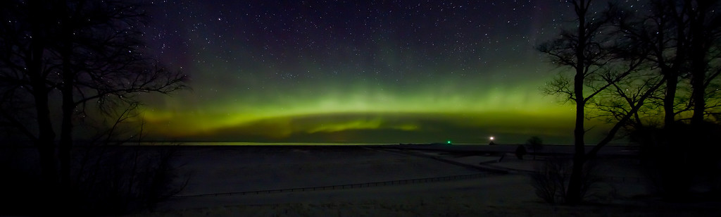 Panoramic view of Northern Lights at the North Entry Point of the Portage Canal.