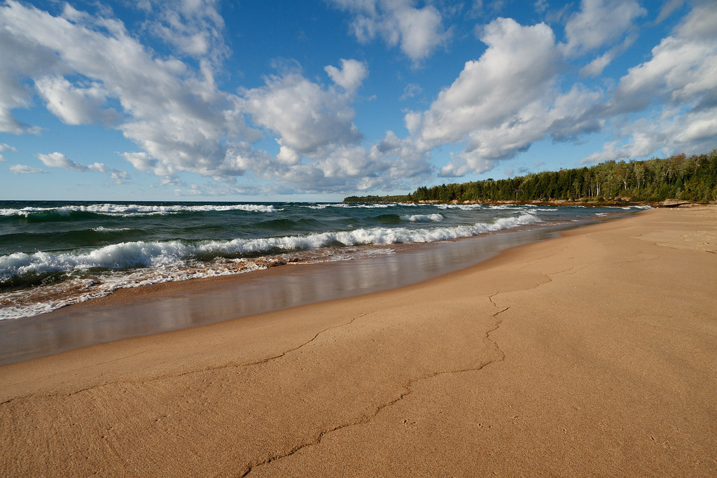 Beach sand smoothed by the waves of Lake Superior (Au Train Bay).