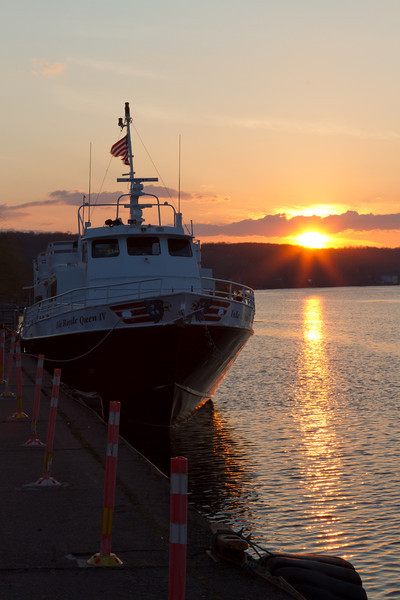 Isle Royal Queen IV still docked for the winter on the Portage Canal during an unseasonbly warm evening in March 2012.