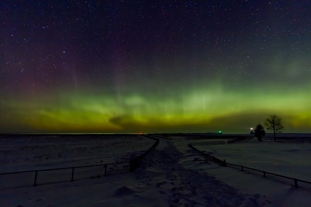 Northern Lights at the North Entry Point of the Portage Canal taken during the early morning hours of March 11th, 2011.