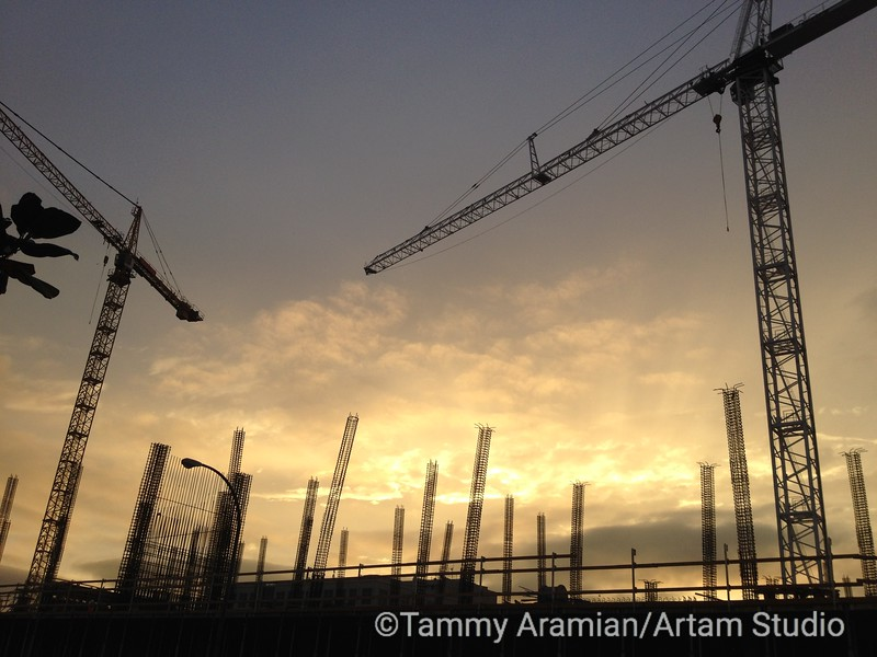 cranes and rebar towers, Redwood City, October 2014