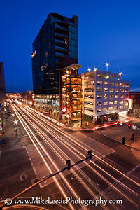 Front Street, Downtown Boise Idaho on a February evening.
