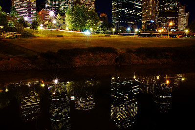 City skyline in reflection on Buffalo Bayou