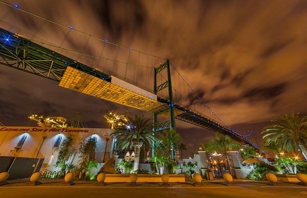 Vincent Thomas Bridge and Catalina Terminal at night