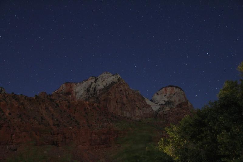 Zion National Park - moonlit cliffs near Watchman Campground