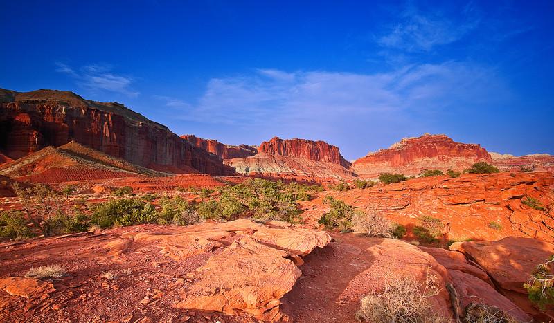 Utah, Capitol Reef National Park, Canyon, Red rocks, Sunset Landscape, 犹他, 圆顶礁国家公园