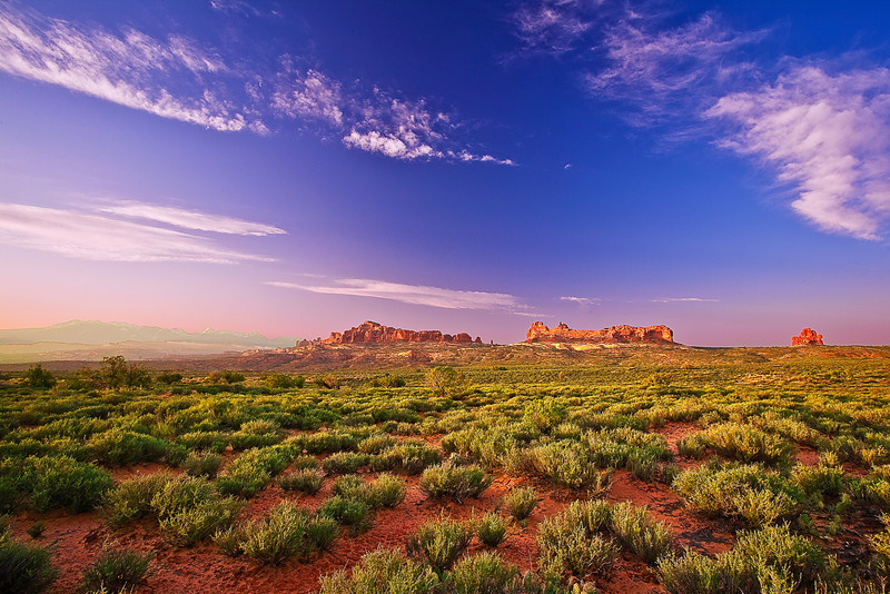 Utah, Arches National Park, Sunrise Landscape, 犹他,  拱门国家公园