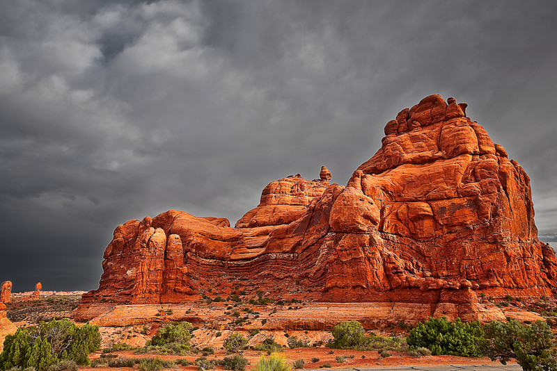 Utah, Arches National Park, Ham Rock Landscape, 犹他,  拱门国家公园