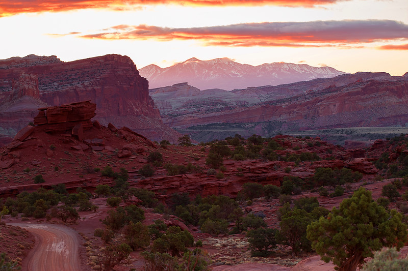Utah, Capitol Reef National Park, Panorama Point, Sunrise, 犹他, 峡谷地国家公园, 沙漠, 日出