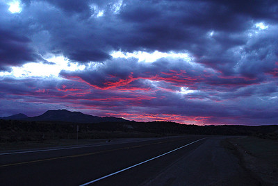 Utah Highway 20:  One of those serendiipitous moments that Mother Nature gives up.  I turned west onto Utah 20 one evening from US 89 near Panguitch, Utah.  I immediately pulled over, rolled down my window and captured one image before the color faded away.