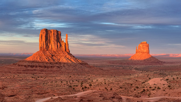Sundown. Monument Valley, Navajo Nation. (detail of panorama)