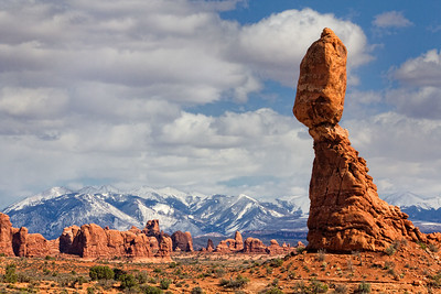 Balanced Rock, Arches National Park, Utah (Turret Arch in center distant)