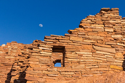 Moon over Woopatki Pueblo Ruins, Arizona