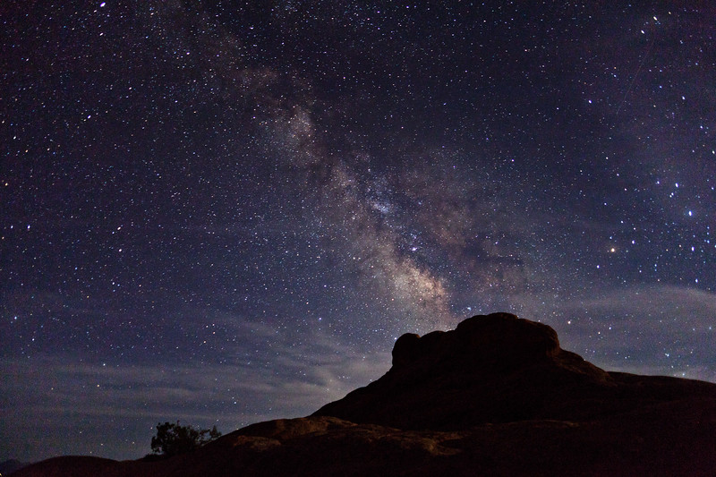 The Milky Way from Arches National Park.  Light from a crescent moon.