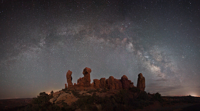 The Milky Way and Garden Of Eden Panorama.  Arches National Park.