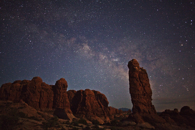 The Milky Way and Owl Rock by moonlight.  Arches National Park.