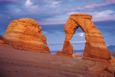 Delicate Arch Moonrise Arches National Park near Moab, Utah.  This is not a double exposure