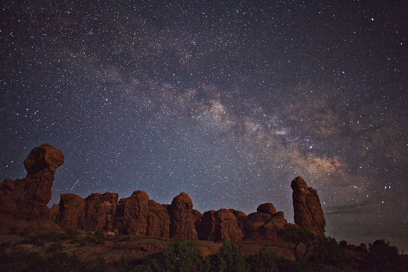 The Milky Way and The Garden Of Eden by moonlight.  Arches National Park.