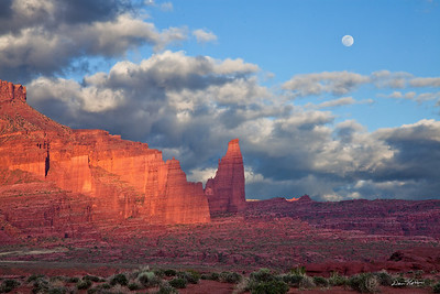 Full Moonrise at Fisher Towers.  Highway 128 north of Moab.