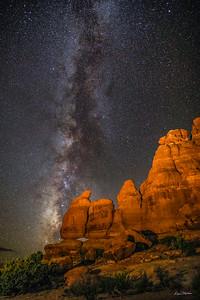 Milky Way at Navajo Rocks. Northwest of Moab, Utah.